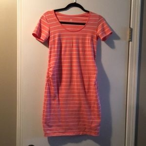 H&M mama coral stripped dress sz S